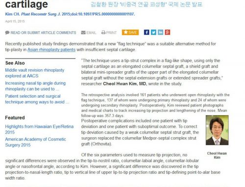 Cheol Hwan Kim's research paper 'Nasal septum cartilage formation', adopted for International Journal of Academic Journal, PRS.